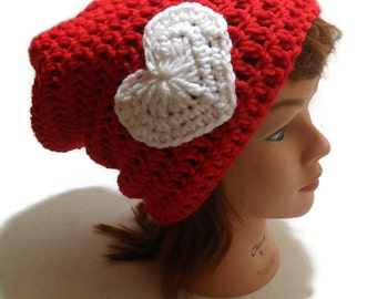 Red Heart Hat, Valentines Hat, Sweetheart Hat, Slouchy Heart Hat, Red and White Hat, Red Slouchy Hat, Kawaii Heart Hat, Hipster Heart Hat,