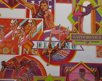 Vintage Olympic Gift Wrap,Collectors, Scrap booking,