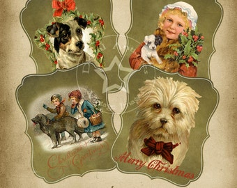 Vintage Christmas Dog Cards Digital Download
