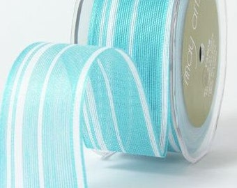 CLEARANCE - Jute - Ogranic Cotton Blend Ribbon with Stripes - Turquoise & White