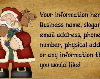 Santa Customized Business Card with Grubby Brown Background You Print DIY Craft PDF and JPEG Digital Image Business Personal or Craft Use