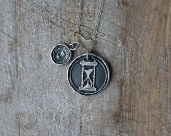Hourglass wax seal fine silver pendant-charm necklace