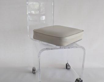 Mid Century Modern Lucite Swivel Vanity Chair / Stool
