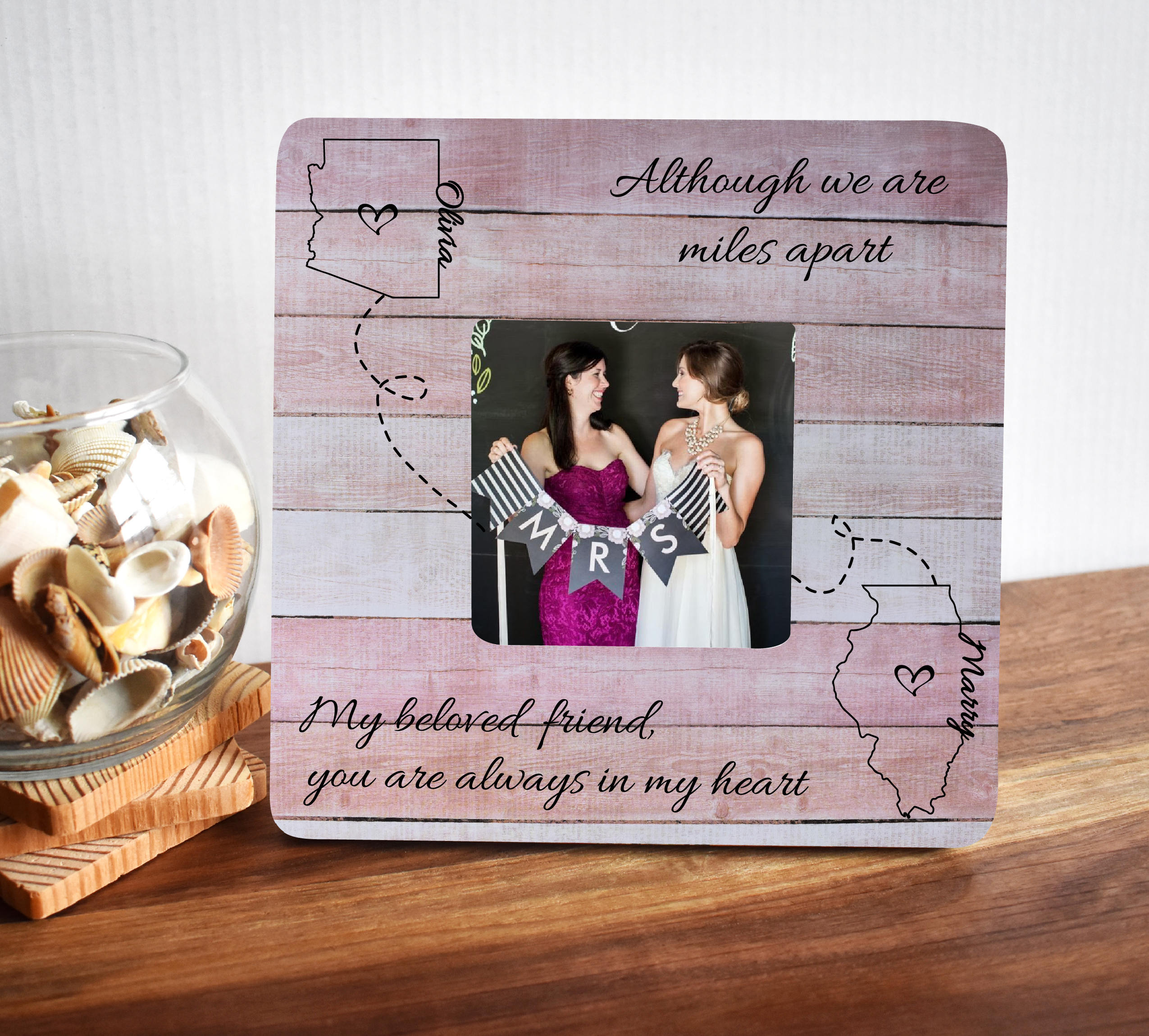 Best Friend Gift Birthday Long Distance Gifts For Friends Photo Frame Picture Frames Personalized From SimplyCuteGifts On Etsy