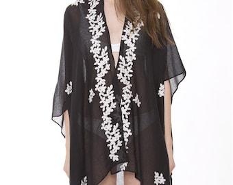 "Women's Floral Kimono Cardigan Lightweight Beachwear Swimwear Cover Ups Sheer Blouse Loose Tops L32"" Embroidered (6901)"