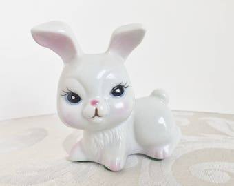 Cute Vintage Enesco Bunny Figurine White Rabbit Ceramic 1980's Collectible Knick Knacks Collection Easter Decor Display
