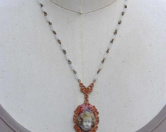 Doll head Necklace, Eclectic Jewelry, Raku Pottery Pendant, Vintage Glass Moonstone Bead Jewelry, Girl With Bow Necklace