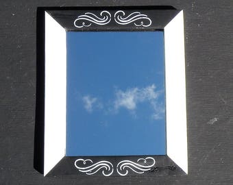 Hand Painted Rustic Black and White Mirror, Scroll Design Framed Mirror, Farmhouse Distressed Pine Wood Mirror, Vintage Style Black Mirror