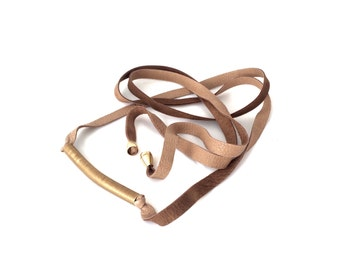 Deer skin leather wrap belt with raw brass in Taupe