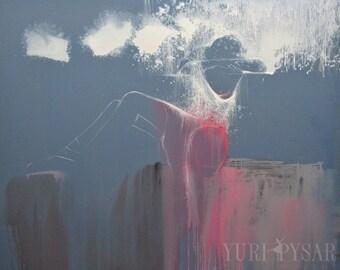 Gift for Her Wall Art Canvas PRINT, Contemporary Art Print, Gray Painting Print, Modern Dancer Print, Gray Wall Decor