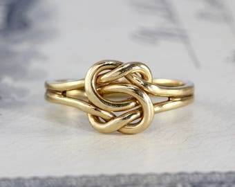 Vintage Love Knot Ring, 14k Yellow Gold Sailors Double Reef Knot Stacking, Alternative Boho Wedding Ring