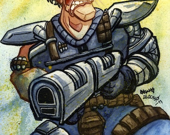 Cable, X-Men, Marvel Comic Superhero, Original Watercolor Painting