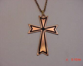 Vintage Copper Gems By Coppercraft Guild Religious Cross Necklace  17 - 766