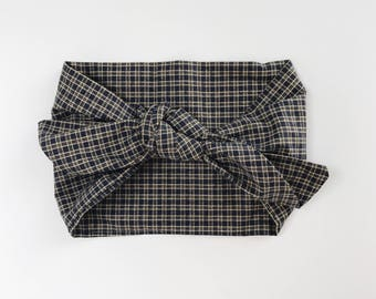 Cotton Navy with Beige Plaid Headwrap/Headband - One Size Fits All