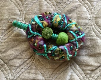 Purple, Turquoise, green felted wool shawl pin Brooch - statement piece  - ready to ship - ooak lagenlook Unique gift
