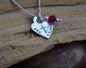Sterling Silver Cross Stamp Personalized Necklace with Birthstone - First Communion, Baptism, Religious, Faith, Confirmation Jewelry,
