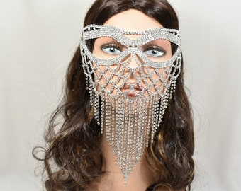 Silver Metal Masquerade Mask, face Veil, wedding mask, Rhinestone Mask, Masquerade Mask, Jeweled Bridal Mask, Queen Mask,new year party mask