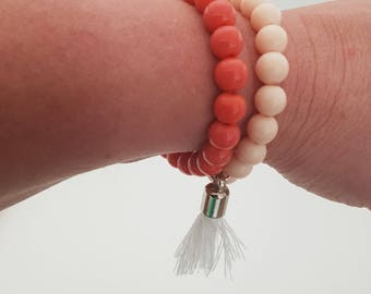 Double strand glass beaded bracelet with tassel