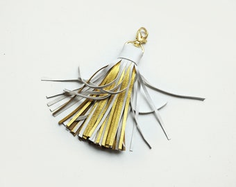 Leather Tassel, Large, White and Gold tassel keychain
