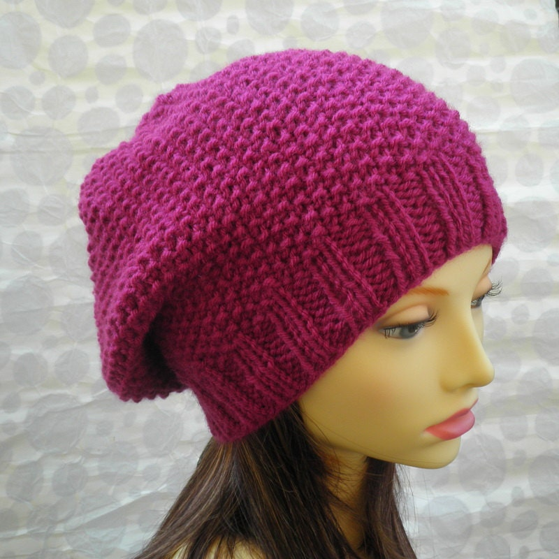 KNITTING PATTERN Womens Slouchy Hat Pattern Knit Round Easy Hat ...