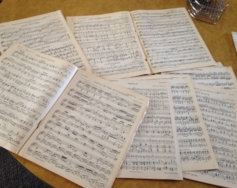 Vintage large piano sheet music