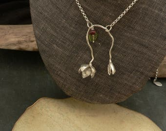 Spring Flowers Necklace in Sterling Silver with Pink Tourmaline and Peridot