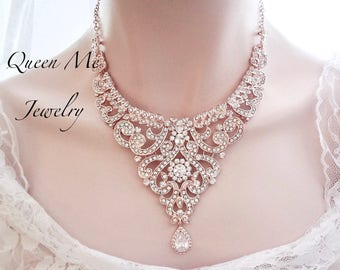 Rose gold crystal bib statement necklace Blush Wedding Jewelry necklace Brides necklace Rose gold Statement necklace For a bride MIA