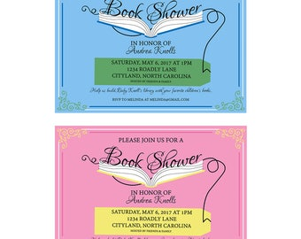 Open Book Baby Shower Invitation