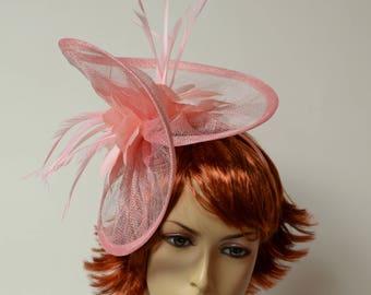 Pink Sinamay fascinator on a headband, Kentucky Derby fascinator, Wedding, Church, Formal, Dressy fascinator