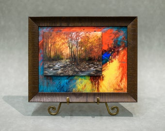 Framed Art Contemporary Abstract Autumn Landscape