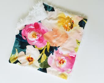 Pink and Navy Watercolor Floral Lovey, Floral Lovey, Floral Baby Blanket, Baby Girl Lovey, Baby Girl Blanket, Baby Girl Gift, Floral Blanket