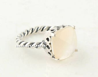 100% 925 Sterling Silver Elegant Sincerity Twist Ring Mother of Pearl Ring Women Jewelry Size 50,52,54,56,58MM