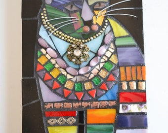 Cat with Triangles - Indoor Mixed Media Mosaic Wall Hanging