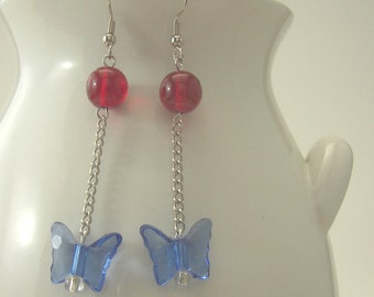 Butterfly Bead Patriotic Earrings - Hand-made