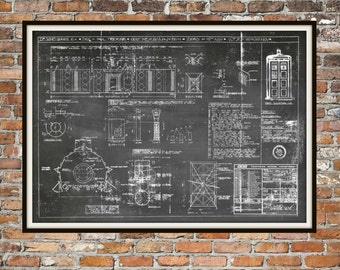 Tardis Print Poster Interior Dr Who Blueprint The Tardis Blueprint Interior Art of The Tardis, Whovian Gift Police Box Print Art Item 0218B