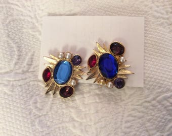 Statement Earrings, Blue, Red, Faux Pearls, Stud Back, Gold, Vintage