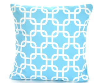 Aqua Pillow Covers, Decorative Throw Pillows, Cushions, Girly Blue Chain Link Gotcha, Couch Bed Sofa Pillows, One or More ALL SIZES