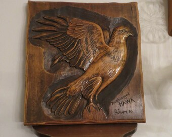 Rough-Legged Hawk Plaque Carved Signed Vintage Bird of Prey w/ free ship