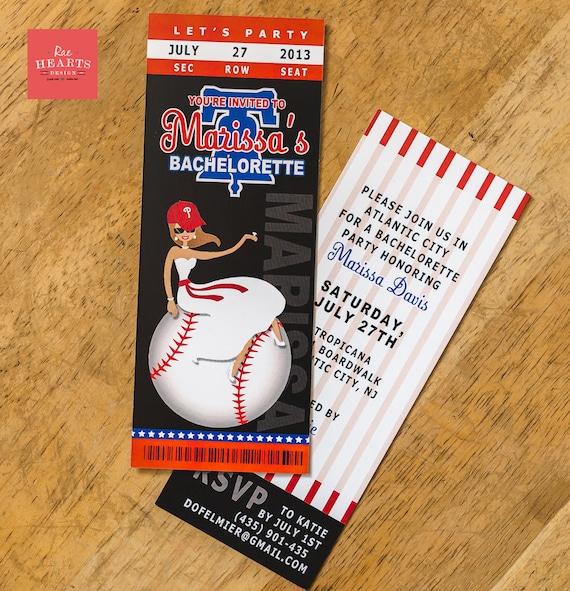 Bachelorette Party Ideas Kansas City: Baseball Ticket Invitation Bridal Shower Bachelorette Wedding