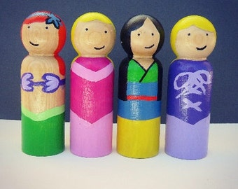 Princess (Kit #1) - UNFINISHED Wooden Peg Dolls - DIY Kit