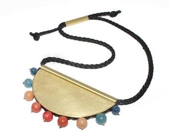 Spring necklace, statement brass necklace,colorful necklace,  large necklace, ethnic necklace,boho necklace,geometric necklace,gold necklace