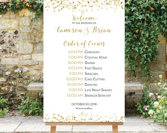 Wedding Schedule Order of Events - Wedding Timeline - Wedding Welcome - Printable Black and Gold Digital File Gold Dots The Giselle