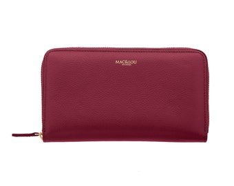 MAC&LOU Calfskin Leather Zip Wallet Burgundy