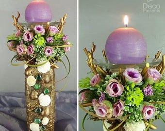 "Decorative candlestick with flowers ""Romantika"", decor Provence"