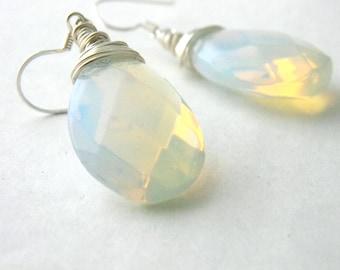 Sterling Silver Opaline Glass Earrings Teardrop Earrings Pear Earrings Dangle Wire Wrapped Earrings