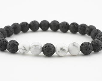 oil diffuser bracelet lava bead lava rock white howlite stretch yoga jewelry mala semiprecious stones aromatherapy women's men's gift