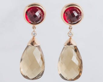 Yellow Gold Red Smoky Quartz Drop Statement Earrings