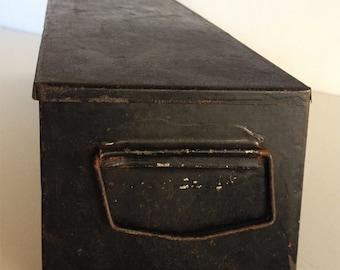 Vintage 1920s Small Black Metal Utility Box Distressed Industrial