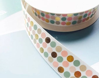 16mm Dotted White Satin with Gold Foli Single Face Printed Wrapping Ribbon