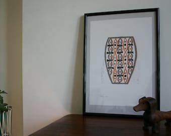 Orange, black and grey vase modernist reduction lino print